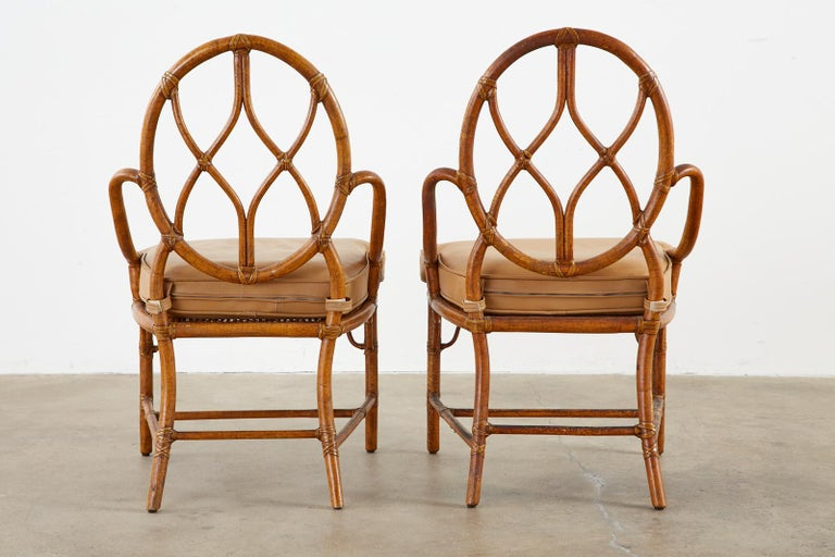 Pair of McGuire Rattan Cane Organic Modern Dining Chairs For Sale 12