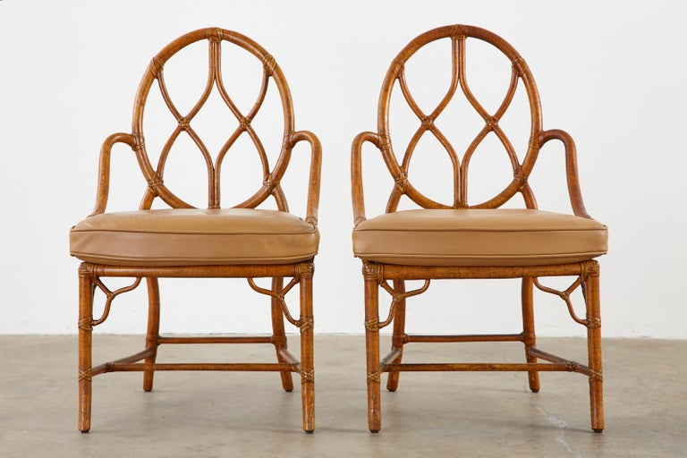 American Pair of McGuire Rattan Cane Organic Modern Dining Chairs For Sale