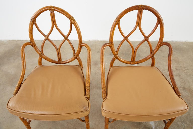 Hand-Crafted Pair of McGuire Rattan Cane Organic Modern Dining Chairs For Sale