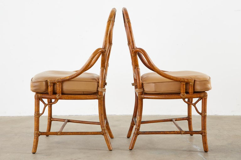 Pair of McGuire Rattan Cane Organic Modern Dining Chairs In Good Condition For Sale In Rio Vista, CA