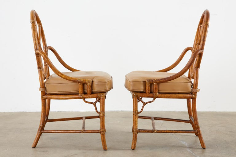 20th Century Pair of McGuire Rattan Cane Organic Modern Dining Chairs For Sale