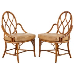 Pair of McGuire Rattan Cane Organic Modern Dining Chairs
