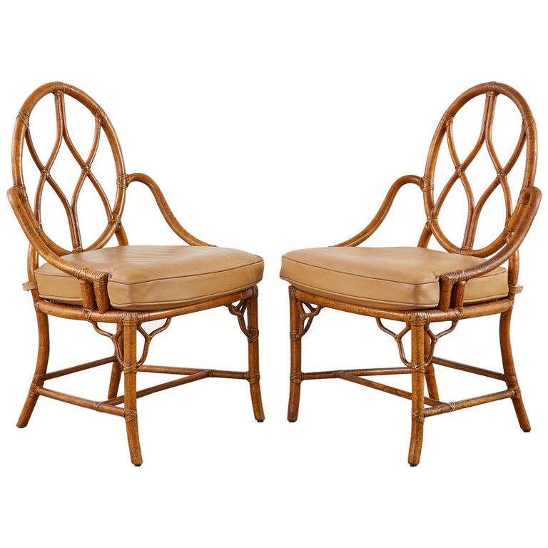 Pair of McGuire Rattan Cane Organic Modern Dining Chairs For Sale