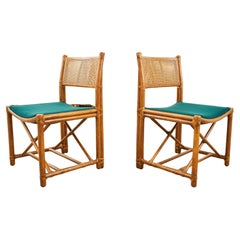 Pair of McGuire Rattan Caned Directors Style Dining Chairs
