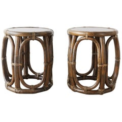 Pair of McGuire Rattan Taborette Drink Tables or Stools