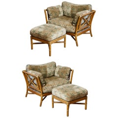 Pair of McGuire Rattan Target One & a Half Lounge Chairs with Matching Ottomans