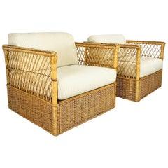 Pair of McGuire Rattan Wicker Armchairs