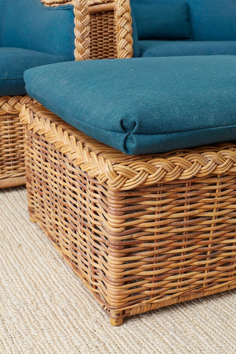 Pair of McGuire Rattan Wicker Lounge Chairs and Ottoman ...