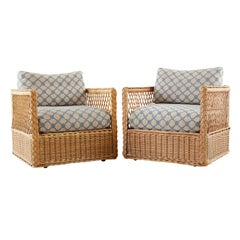Pair of McGuire Rattan Wicker Lounge Chairs with Ottoman