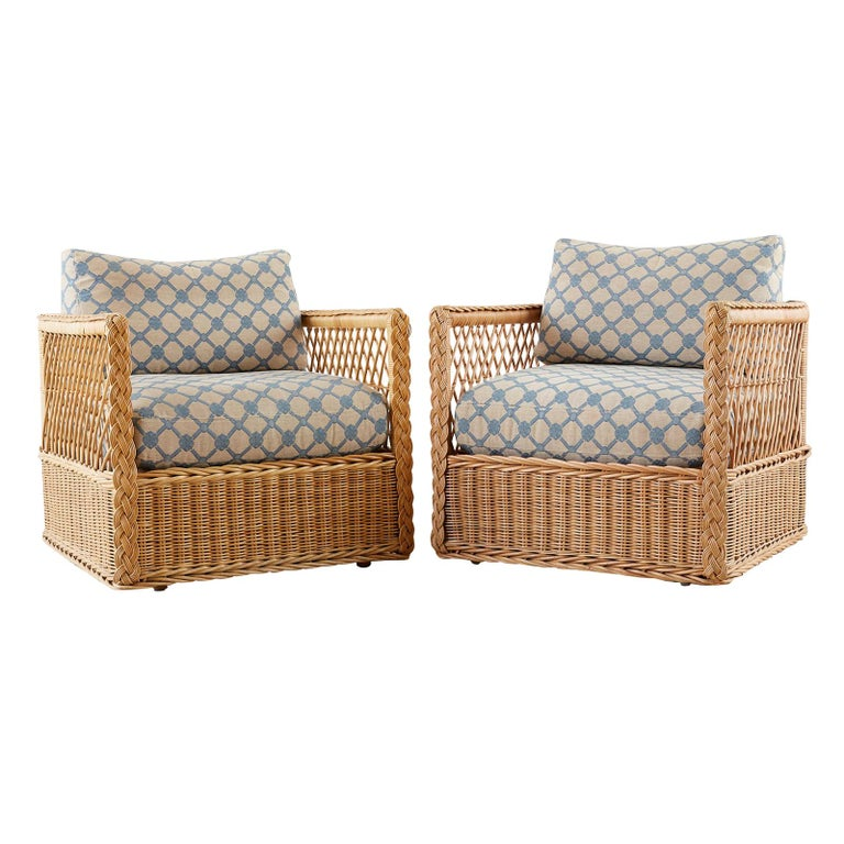 Brilliant Pair Of Mcguire Rattan Wicker Lounge Chairs With Ottoman Short Links Chair Design For Home Short Linksinfo