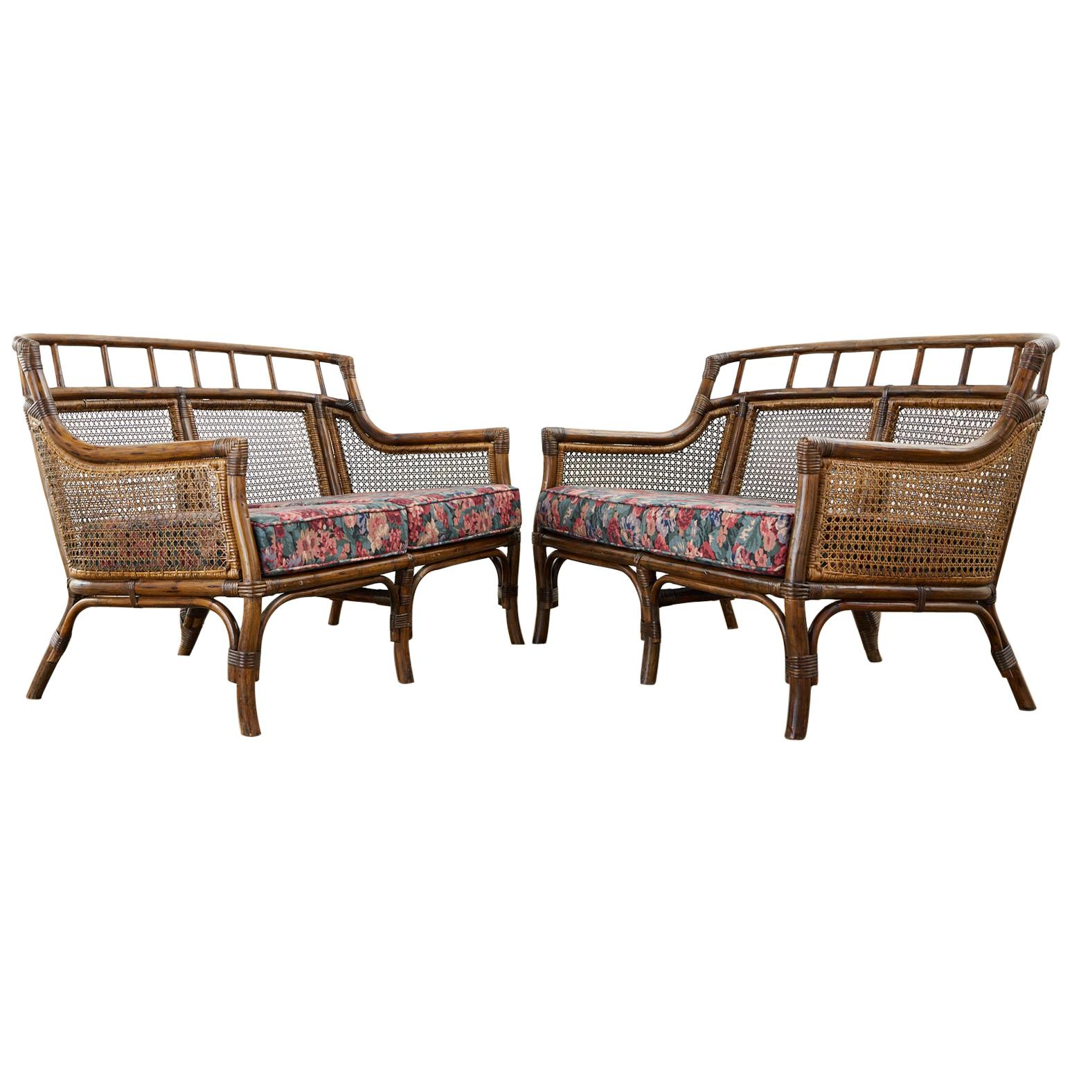 Pair of McGuire Style Rattan Caned Settee Loveseats