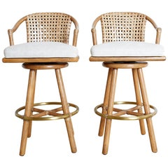Pair of McGuire Woven Leather Rattan Swivel Barstools