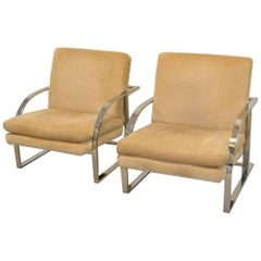 Pair of MCM Chrome Lounge Chairs Attributed to Milo Baughman
