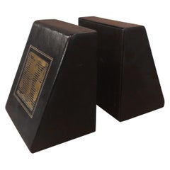 Pair of MCM Leather Wrapped World Map Bookends