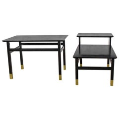 Pair of MCM Side Tables Black with Brass Sabots Style of Harvey Probber