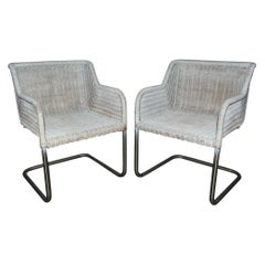 Pair of MCM Wicker Seat Metal Base Armchairs