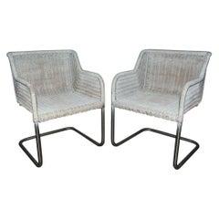 Pair of MCM Wicker Seat Metal Base Armchairs