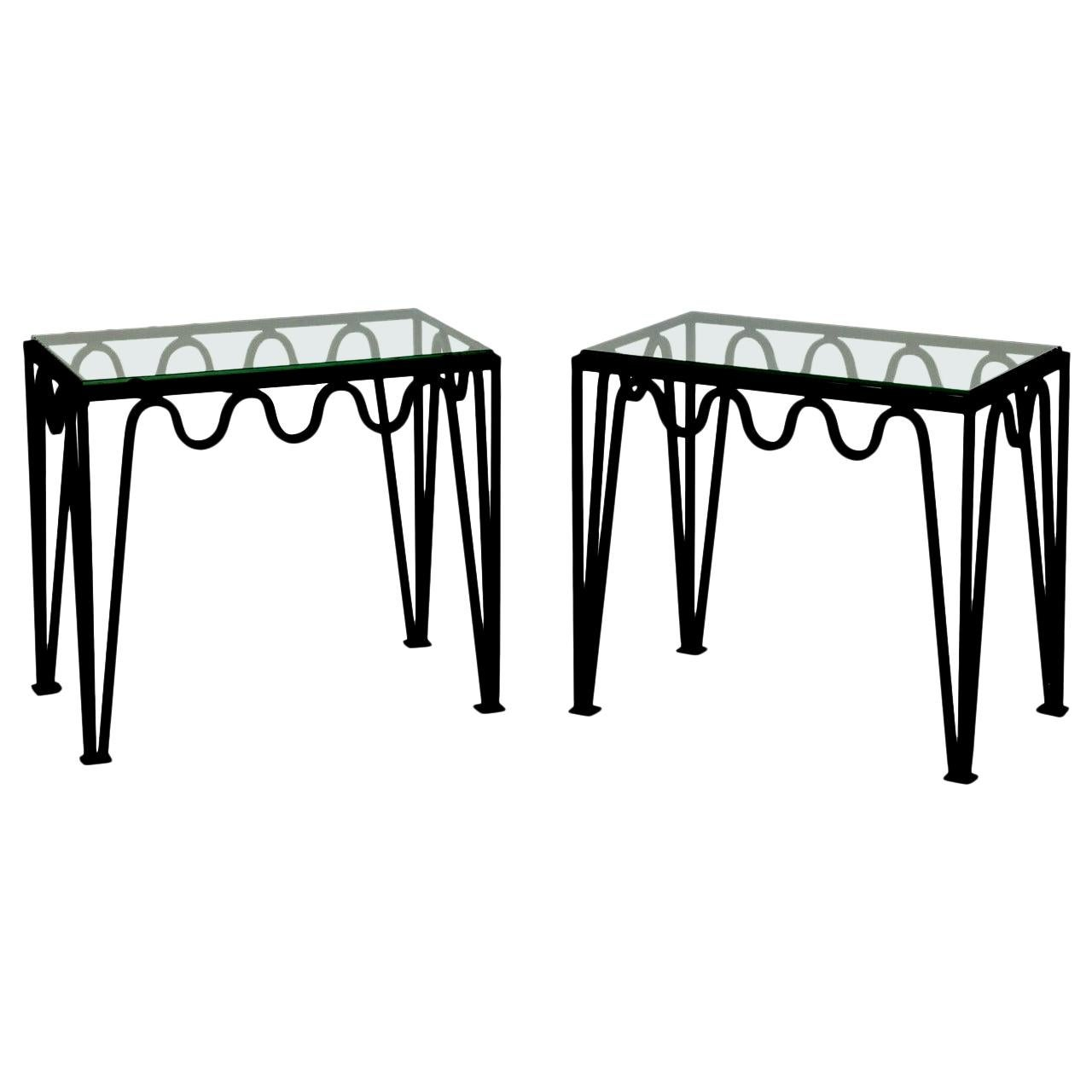 Pair of 'Méandre' Blackened Steel and Glass Side Tables by Design Frères