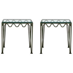 Pair of 'Méandre' Verdigris and Glass Nightstands by Design Frères