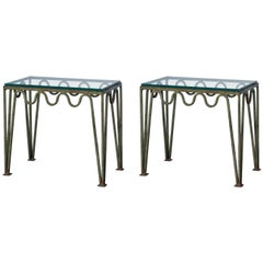 Pair of 'Méandre' Verdigris and Glass Side Tables by Design Frères