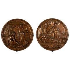 Pair of Medallions of King David & Bathsheba and Othello & Desdemona by Picault