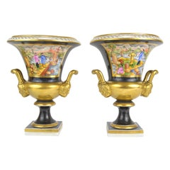 Pair of Medici Porcelain Vases Chinoiserie Style Decoration