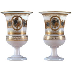 Pair of Medici Vases in White Opaline by Jean-Baptiste Desvignes