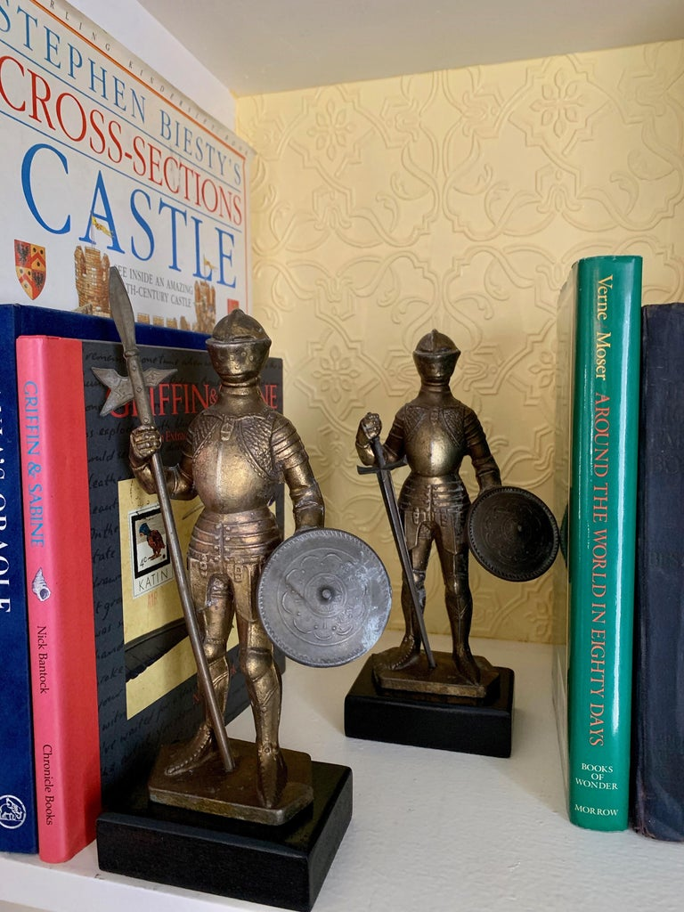 English Pair of Medieval Knight Bookends For Sale