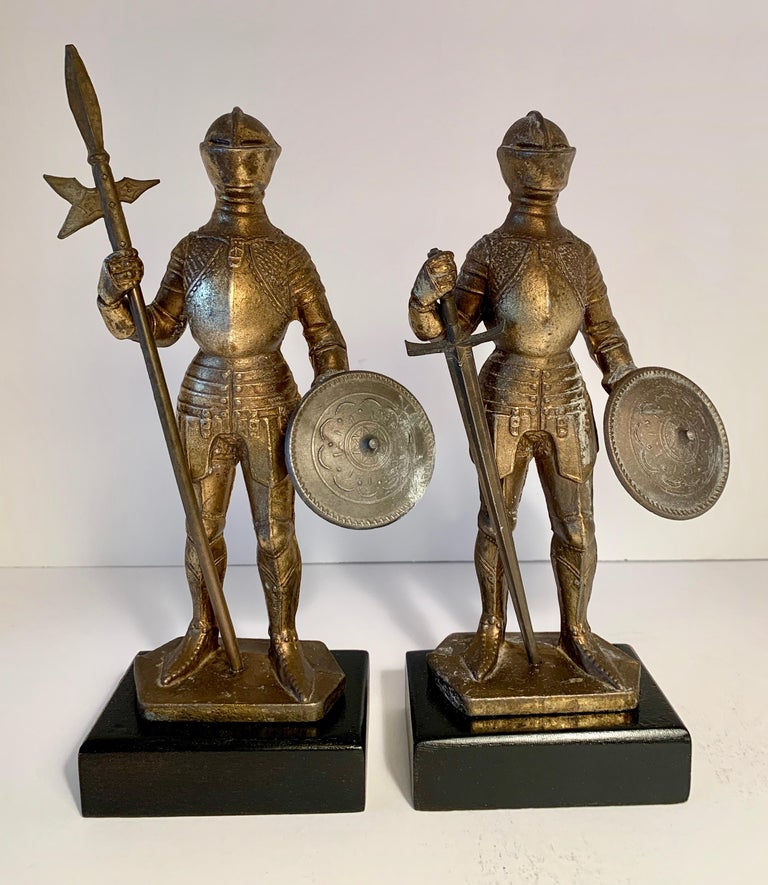 Gilt Pair of Medieval Knight Bookends For Sale