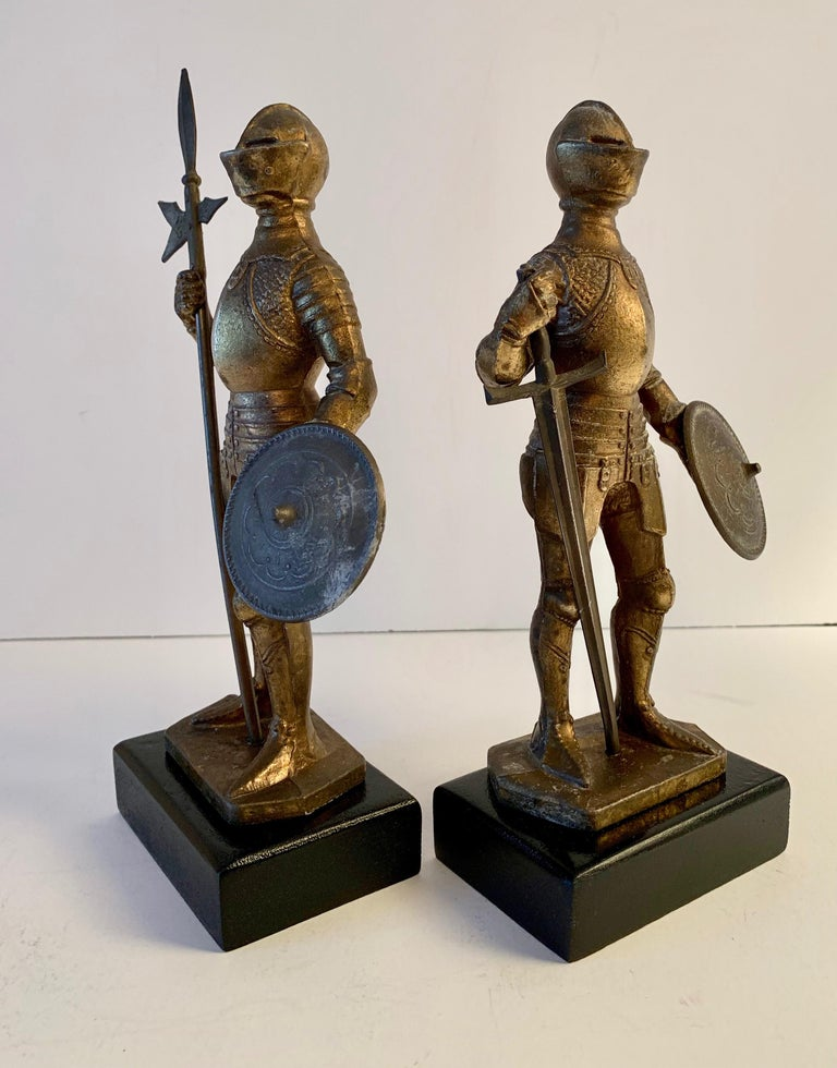 20th Century Pair of Medieval Knight Bookends For Sale