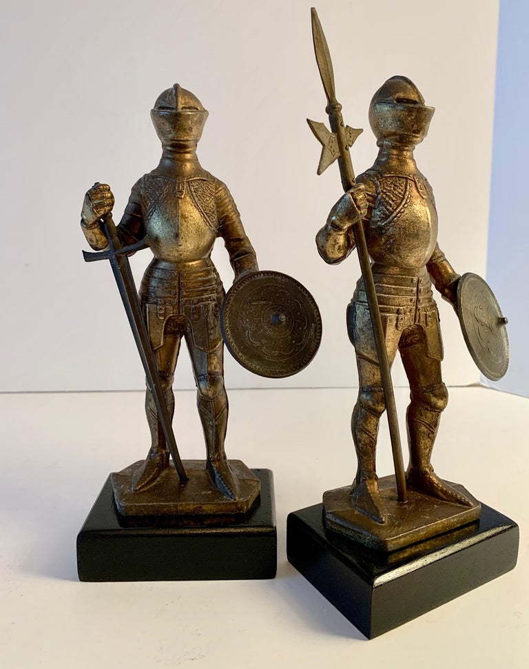 Metal Pair of Medieval Knight Bookends For Sale