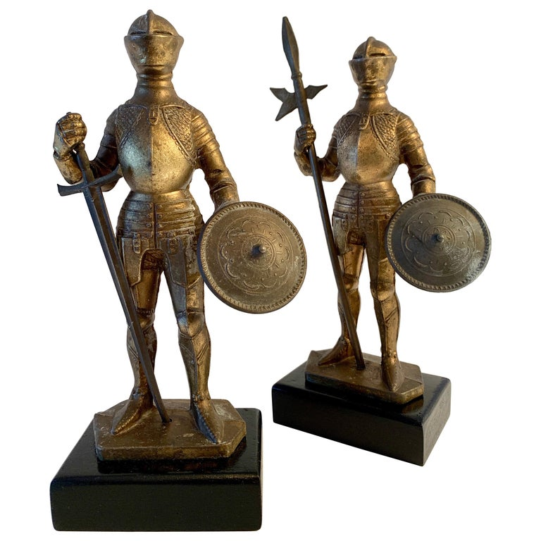 Pair of Medieval Knight Bookends For Sale