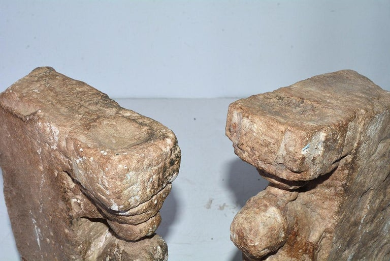 Pair of Medieval Style Architectural Stone Sculptures For Sale 8