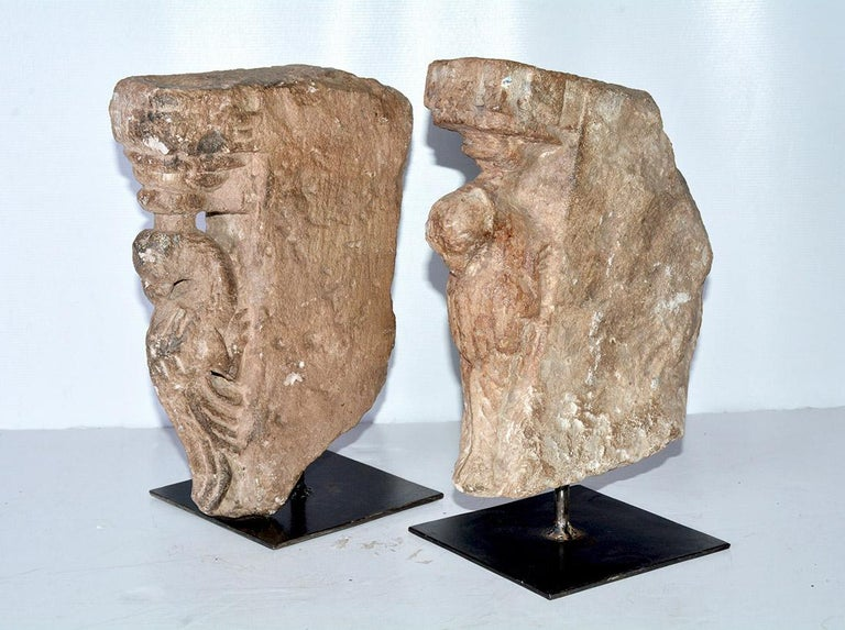 Unknown Pair of Medieval Style Architectural Stone Sculptures For Sale