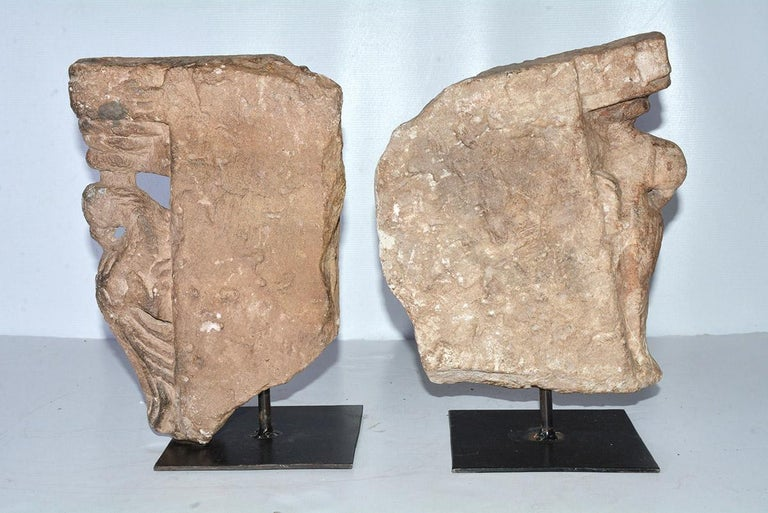 Hand-Carved Pair of Medieval Style Architectural Stone Sculptures For Sale
