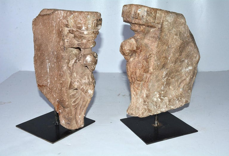 Pair of Medieval Style Architectural Stone Sculptures In Good Condition For Sale In Great Barrington, MA