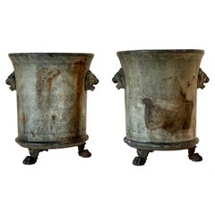 Pair of Medium Cast Iron Jardinières de Rouen with Lions' Paw Feet (Urns)