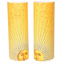 "Pair of Medium Size Perspex Table Lamps ""Sole"" by Barnaba Fornasetti, Italy 1995"