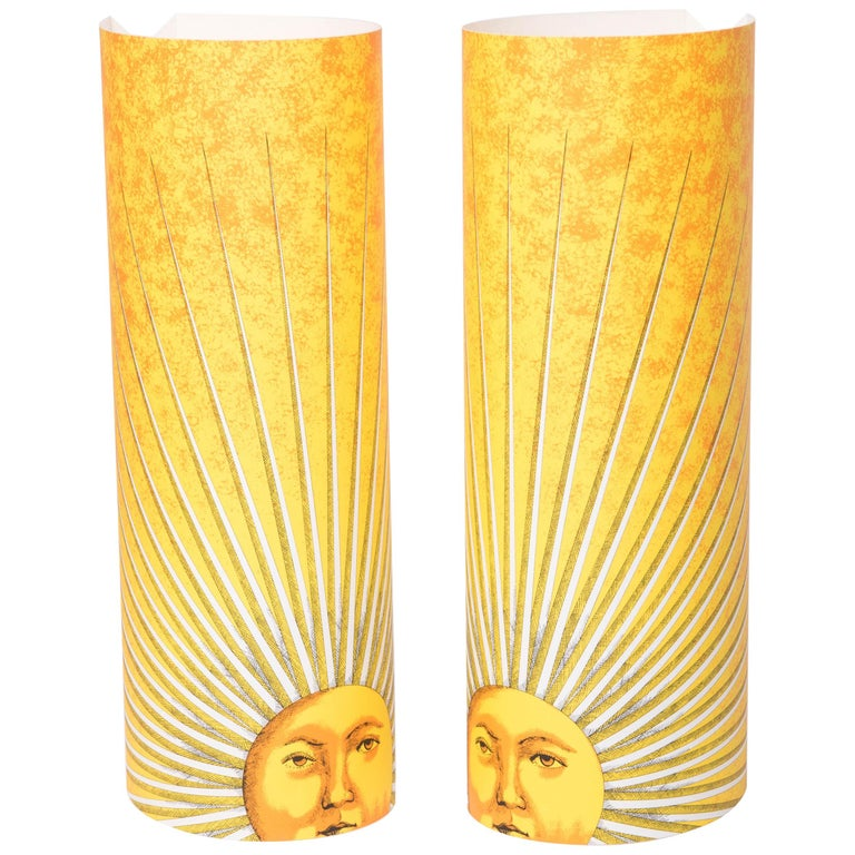 "Pair of Medium Size Perspex Table Lamps ""Sole"" by Barnaba Fornasetti, Italy 1995 For Sale"