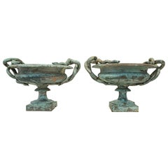 Pair of Medium Val d'Osne Cast Iron Snake Urns with Robin's Egg Blue Paint