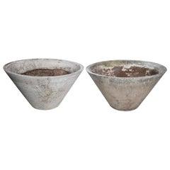 Pair of Medium Vintage Fiber Cement Jardinières