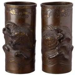 Pair of Meiji Cylindrical Cast Bronze Vases