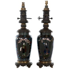 Pair of Meiji Lamped Champlevé Baluster Vases, circa 1885