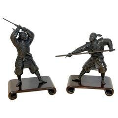 Pair of Meiji Period Bronze Samurai Warriors