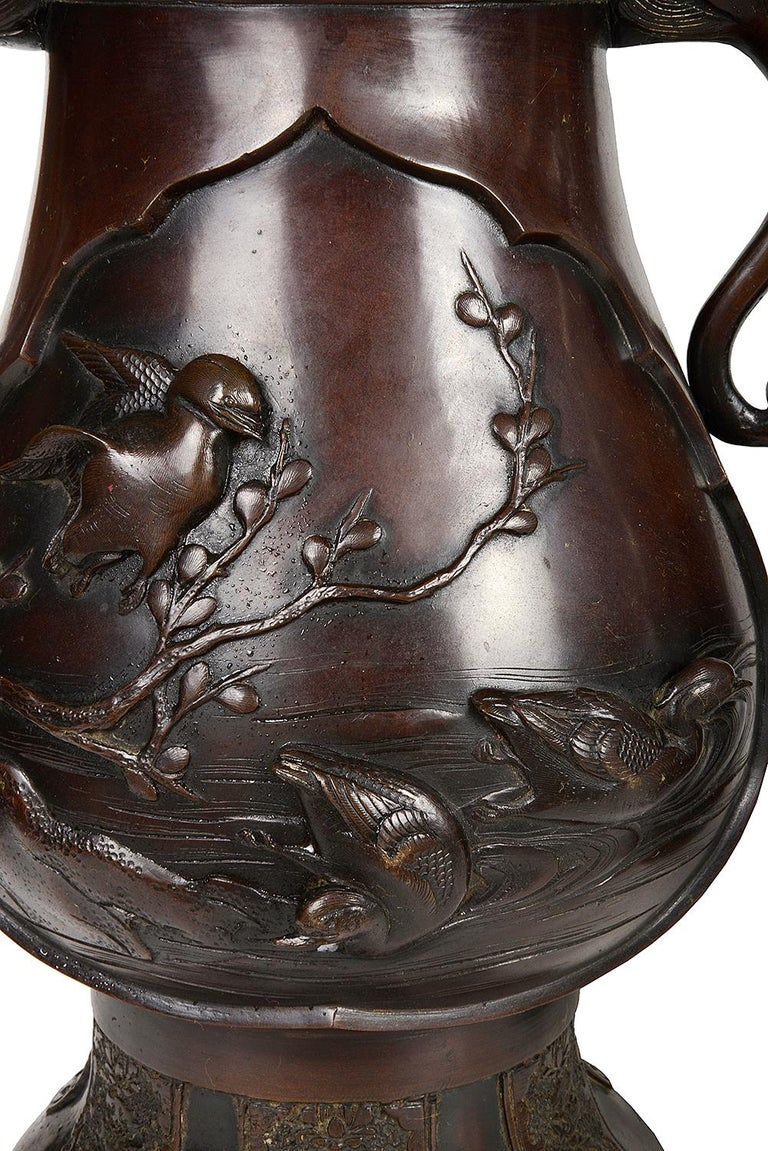 19th Century Pair of Meiji Period Japanese Bronze Vases / Lamps For Sale