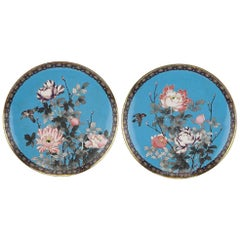Pair of Meiji Period Japanese Cloisonne Chargers, 19th Century