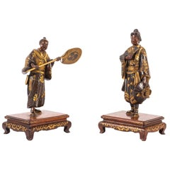 Pair of Meiji Period Japanese Miyao Bronze Statues