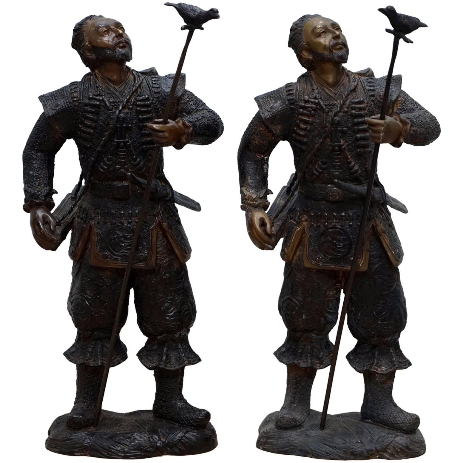 Pair of Meiji Style Japanese Hayabusa Bronze Samurai Warrior Statues