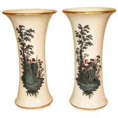 Pair of Meissen Late 19th Century Vases with Watteau Style Paintings