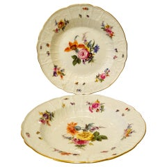 Pair of Meissen Museum Quality Bowls Painted with Flower Bouquets and Insects